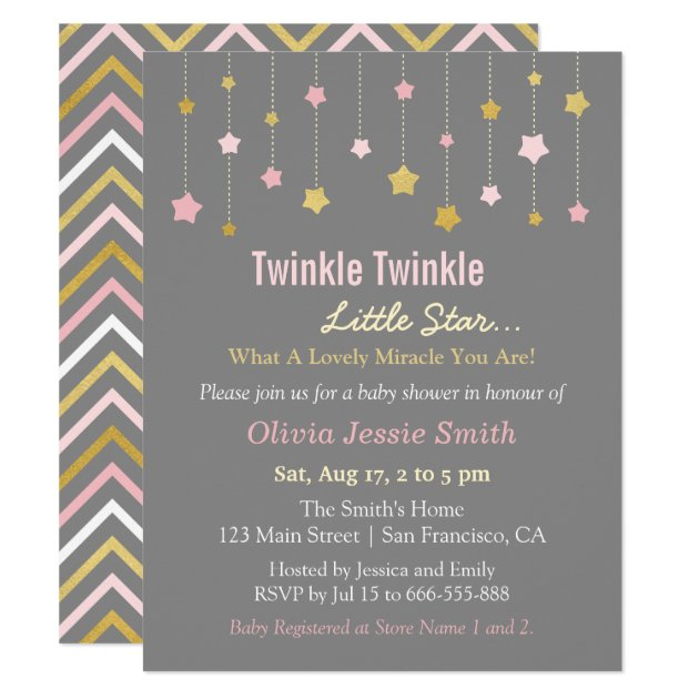 faux gold and pink twinkle little star baby shower card | zazzle, Baby shower invitations