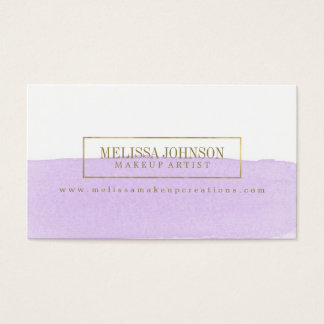 Faux Gold and Purple Watercolor Business Cards