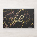 """Faux Gold and Rust Veins customizable monogram HP Laptop Skin<br><div class=""""desc"""">I made this beautiful Faux Gold and Rust pattern from several Black Marble patterns of mine. This Laptop Skin can be personalized. You may place the Monogram Initial of your choice on this skin and you may also change the Font and its&#39; size. To Customize please locate where you&#39;re instructed...</div>"""