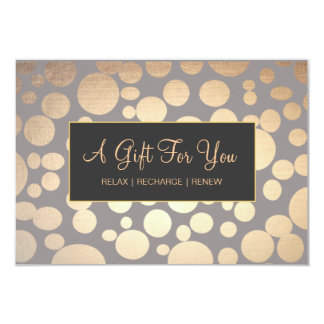 """Faux Gold and Taupe Spa and Salon Gift Certificate 3.5"""" X 5"""" Invitation Card"""