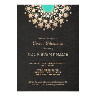 Faux Gold and Turquoise Circle Mandala Black Card