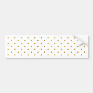 Faux Gold and White Polka Dots Bumper Sticker