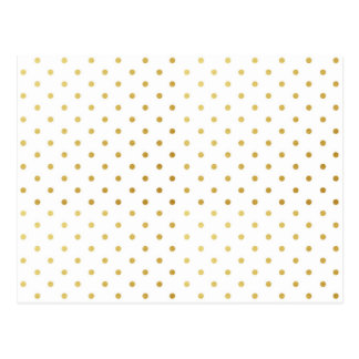 Faux Gold and White Polka Dots Postcard