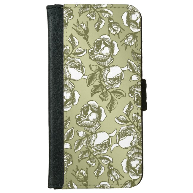 Faux Gold and White Roses iPhone Wallet Case