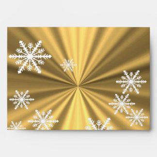 Faux gold and  white snowflakes Christmas design Envelope