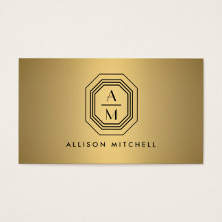 Faux Gold Art Deco Monogram Interior Design Business Card