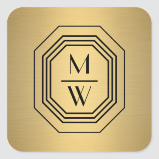 Faux Gold Art Deco Monogram Stickers