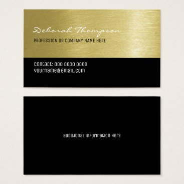 Professional Business faux gold background professional women business card