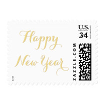 Faux Gold Beautiful Elegant Script Happy New Year Postage