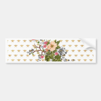 faux gold,bees,floral,whimsical,chic,dandy,cute,pa bumper sticker