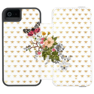 faux gold,bees,floral,whimsical,chic,dandy,cute,pa iPhone SE/5/5s wallet case