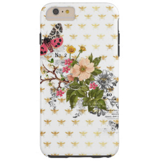 faux gold,bees,floral,whimsical,chic,dandy,cute,pa tough iPhone 6 plus case
