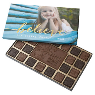 Faux Gold Believe | Holiday Box of Chocolates 45 Piece Assorted Chocolate Box