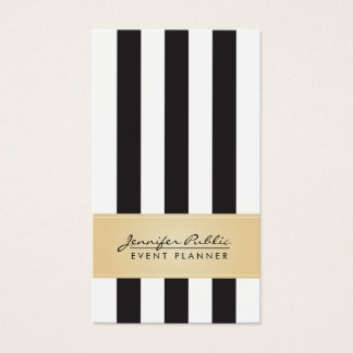 Faux Gold Black and White Stripe Event Planner Business Card