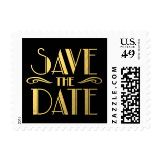 Faux Gold Black Art Deco Save the Date Postage