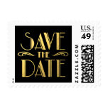 Faux Gold Black Art Deco Save The Date Postage at Zazzle