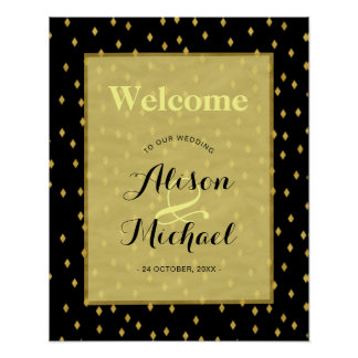 Faux gold black diamond pattern wedding welcome poster