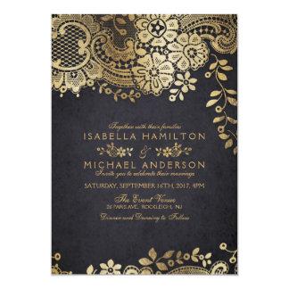 Faux gold black elegant vintage lace wedding card