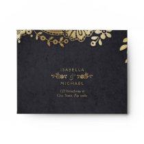 Faux gold black elegant vintage lace wedding RSVP Envelope