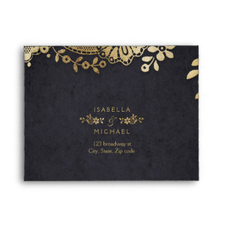 Faux gold black elegant vintage lace wedding RSVP Envelope