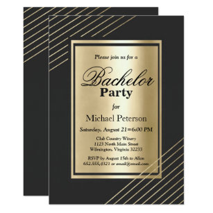 Faux Gold Black Geometrical Elegant Bachelor Party Invitation