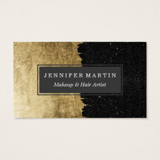 Faux Gold & Black Starry Night Brushstrokes Business Card