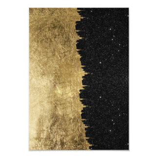 Faux Gold & Black Starry Night Brushstrokes Card