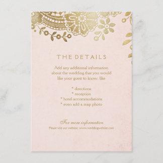 Faux gold blush elegant lace wedding details card