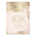 Faux Gold Blush Elegant Vintage Lace Wedding Card at Zazzle
