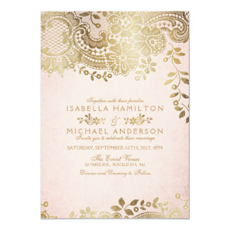 Faux gold blush elegant vintage lace wedding invitation