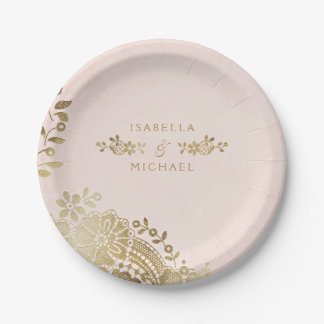 Faux gold blush elegant vintage lace wedding paper plate