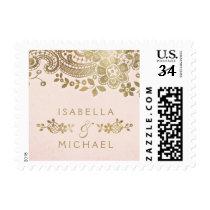 Faux gold blush elegant vintage lace wedding postage