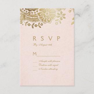 Faux gold blush elegant vintage lace wedding RSVP