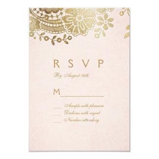 Faux gold blush elegant vintage lace wedding RSVP Card