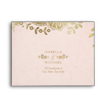 Faux gold blush elegant vintage lace wedding RSVP Envelope
