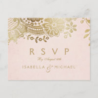 Faux gold blush elegant vintage lace wedding RSVP Invitation Postcard