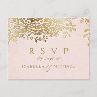 Faux gold blush elegant vintage lace wedding RSVP Invitation Postcard