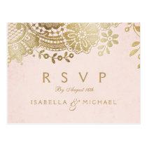 Faux gold blush elegant vintage lace wedding RSVP Postcard