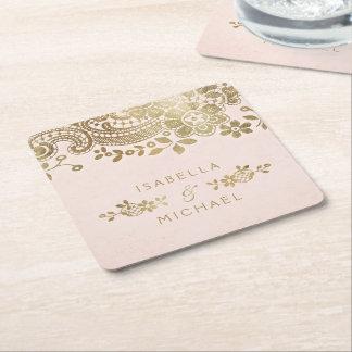 Faux gold blush elegant vintage lace wedding square paper coaster