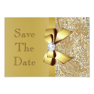 Faux Gold Bow Diamonds Save The Date Baby Shower 3.5x5 Paper Invitation Card