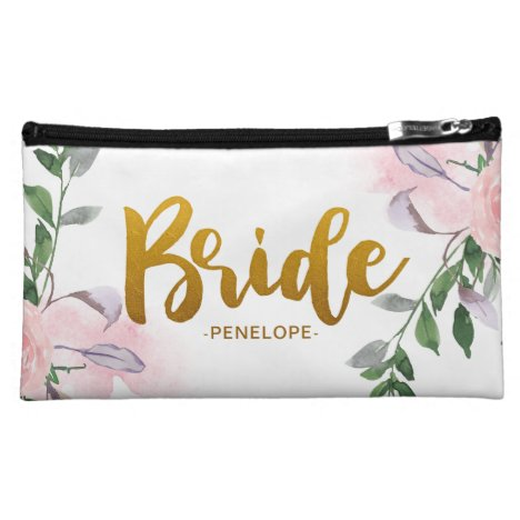 Faux Gold Bride Script Chic Floral with Name Cosmetic Bag