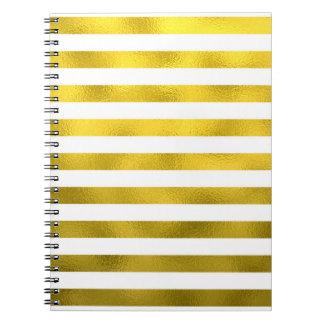 Faux Gold Bronze White Horizontal Stripes Striped Note Books