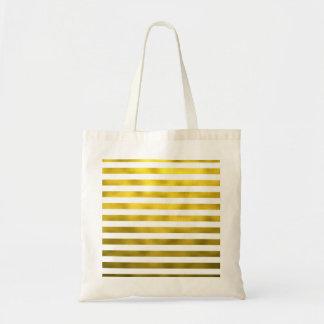 Faux Gold Bronze White Horizontal Stripes Striped Tote Bag