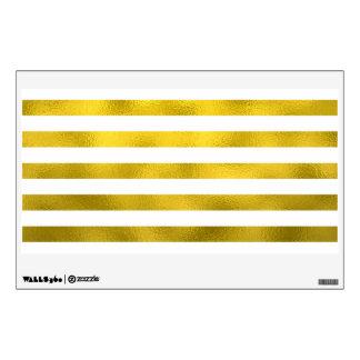 Faux Gold Bronze White Horizontal Stripes Striped Wall Sticker