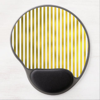 Faux Gold Bronze White Vertical Stripes Narrow Gel Mouse Pad