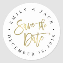 Faux Gold Brush Lettered Save the Date Classic Round Sticker