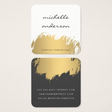 Faux Gold Brushed White Gray Square Business Card