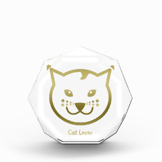 "Faux Gold Cat Face - ""Cat Lover"" Award"
