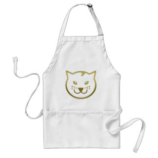 Faux Gold Cat Face - Custom background color Adult Apron