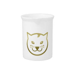 Faux Gold Cat Face - Custom background color Beverage Pitcher